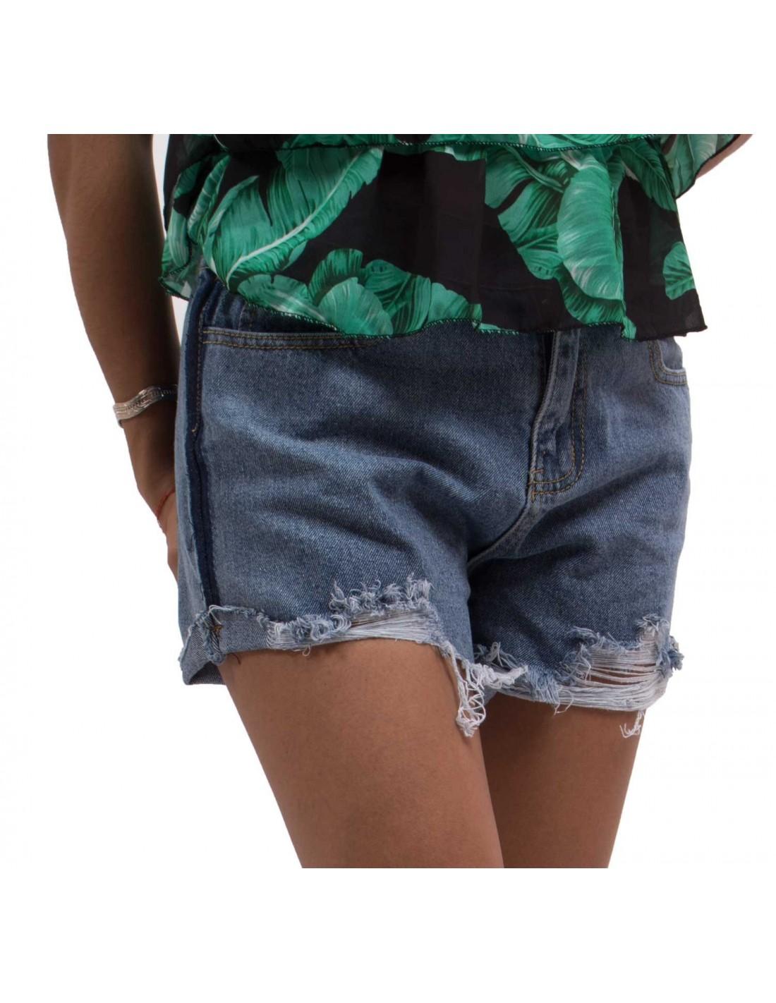 Short femme en jean taille haute déchiré   effilé coupe destroy brut 1d588602cce