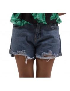 Short femme en jean taille haute déchiré & effilé couleur brut