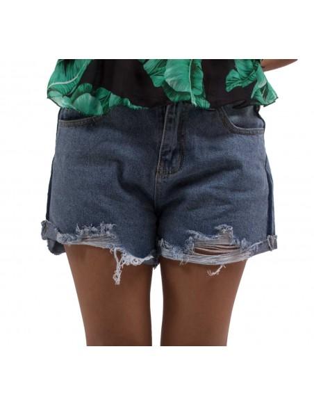 Short en jean taille haute déchiré & effilé pour femme