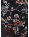 Jean slim noir femme taille haute avec broderie fleurs & oiseaux