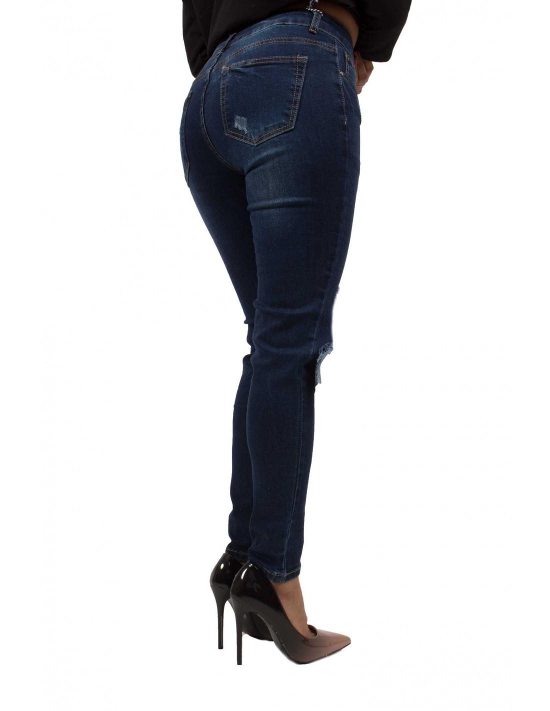 ... Jean femme troué avec collant résille noir intégré taille haute coupe  slim bleu délavé ... ffca073c8da8