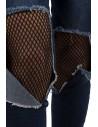 Jean femme troué avec collant résille noir intégré taille haute coupe slim bleu délavé