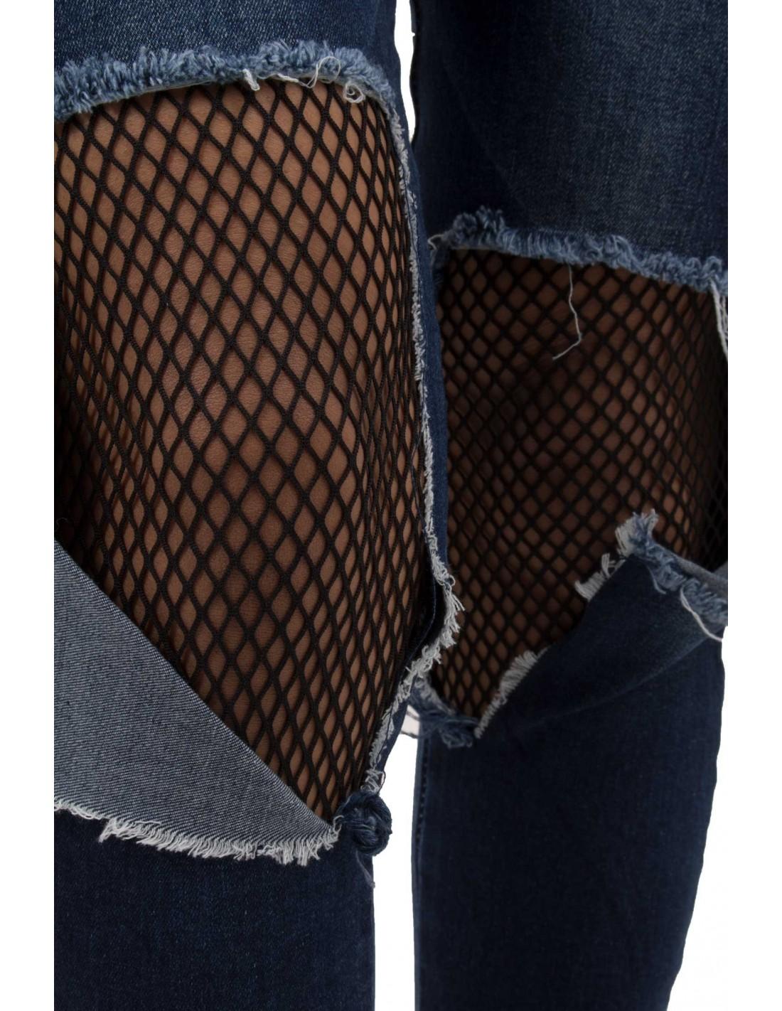 ... Jean femme troué avec collant résille noir intégré taille haute coupe  slim bleu délavé 02d6815c9d39