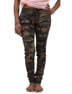 Jean femme militaire motif camouflage avec taille élastique forme jegging