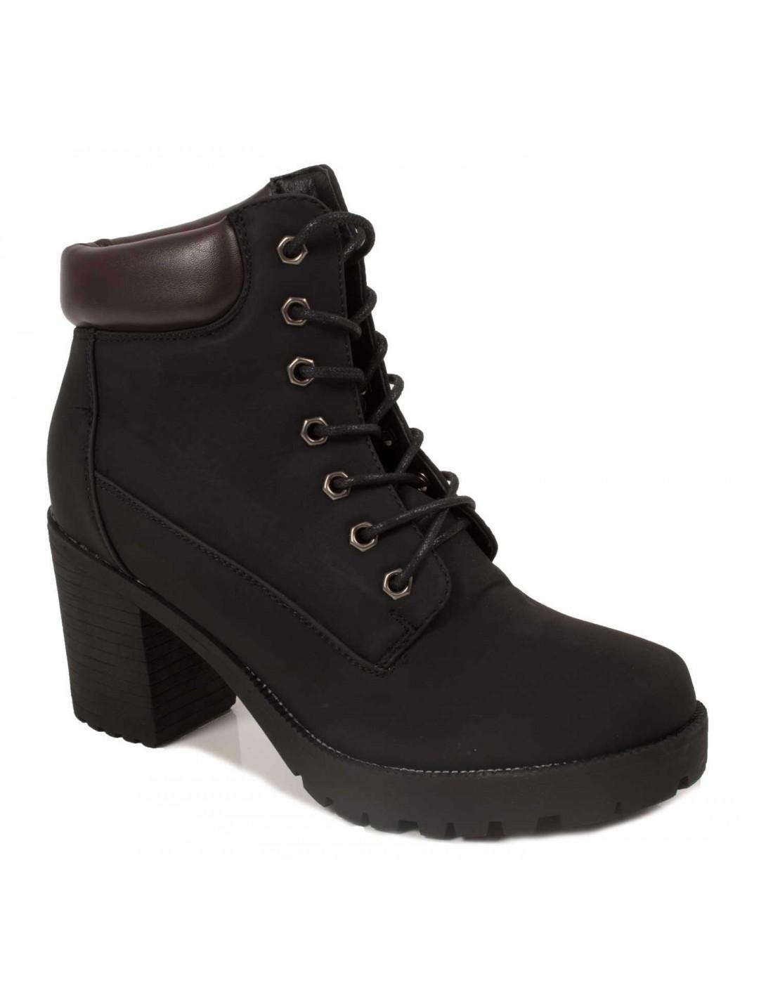 rangers femme talon style boots lacets camel ou noir. Black Bedroom Furniture Sets. Home Design Ideas
