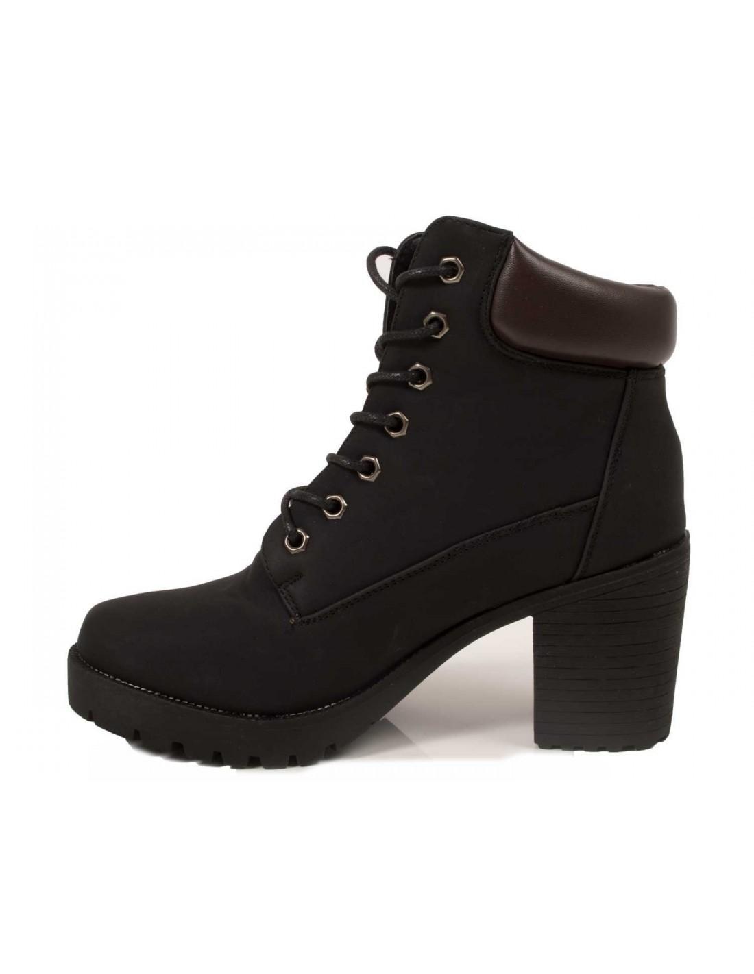 Boots Rangers femme à talon style boots à lacets camel ou noir e52b89a503c4