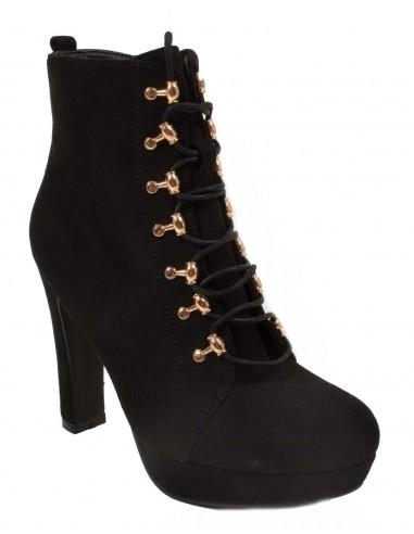 Boots escarpins noir type bottines à lacets aspect daim à talons hauts