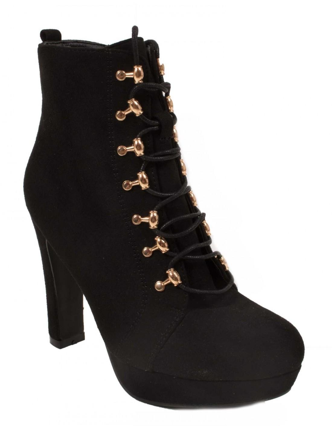 Boots escarpins noir type bottines à lacets aspect daim à talons hauts 37be40c13b21
