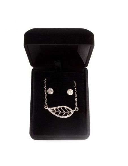 Parure de Bijoux femme fantaisie avec son Pendentif Feuille - doré ou argenté