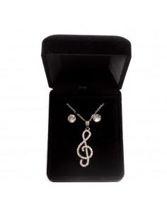 Parure de Bijoux femme avec Pendentif Musique Clé de sol, collier et boucles d'oreilles