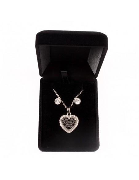 Parure de Bijoux Argentée avec Collier, Pendentif Coeur ajouré serti de strass & Boucles d'oreilles