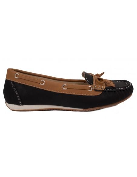 Mocassins femme noir & camel forme bateau noeud et franges - semelle intérieure cuir