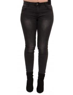 Jean femme grande taille coupe slim stretch taille haute noir délavé gris