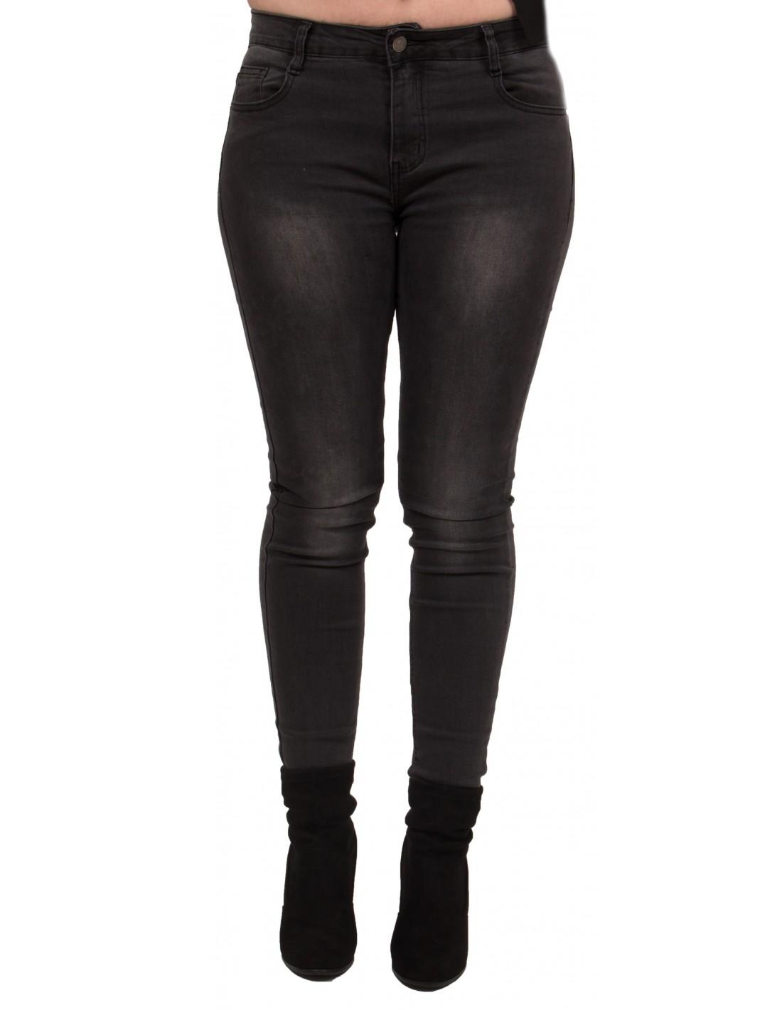 Jean femme grande taille coupe slim stretch noir délavé gris