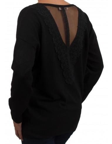 Pull femme dos dentelle et col V aspect laine douce