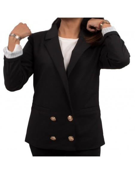 Veste de tailleur noir femme avec manches revers et boutons dorés