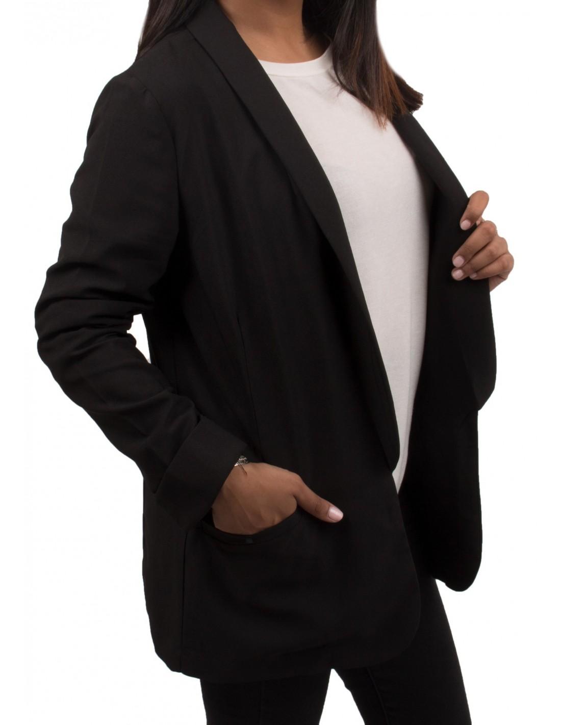 veste de blazer noir pour femme ouverte poches taille s m l. Black Bedroom Furniture Sets. Home Design Ideas