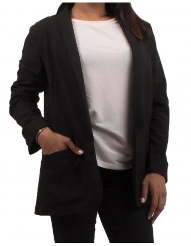 Veste de blazer noir pour femme ouverte à poches