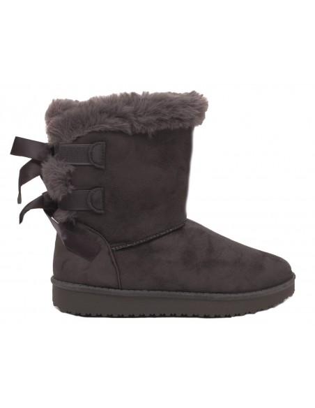 Bottes de neige noir femme fourrées avec ruban boots fourrure synthétique