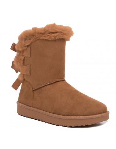 chaussures de sport 7756b 5a6d5 Bottes fourrées femme avec ruban satiné et fourrure synthétique