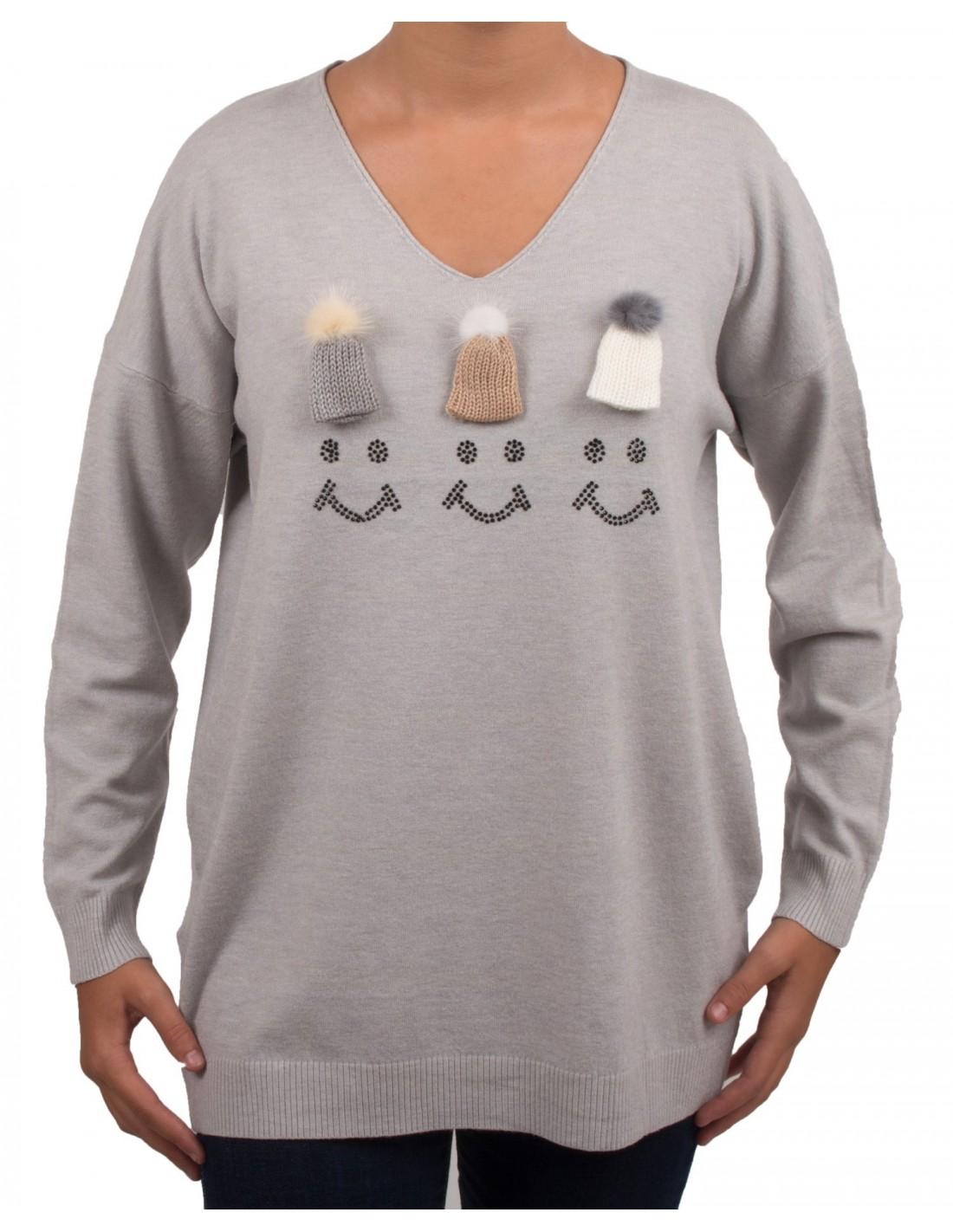 0f8a2baec3bd Pull femme smiley à pompons fourrure   bonnet aspect laine douce