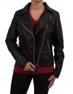 Veste perfecto en simili cuir noir femme style motarde