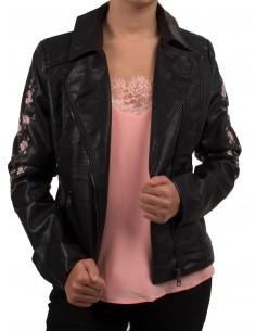 Veste Perfecto noir brodée fleurs rose pour femme en simili cuir