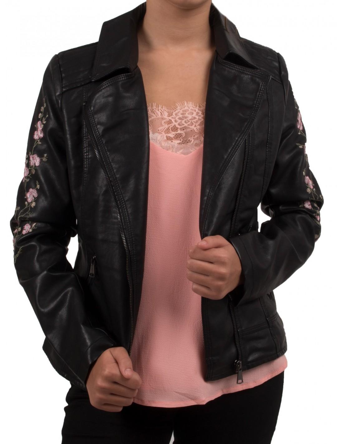 Noir Simili Veste Brodée Rose Pour Femme Cuir En Perfecto Fleurs a55Aw8q