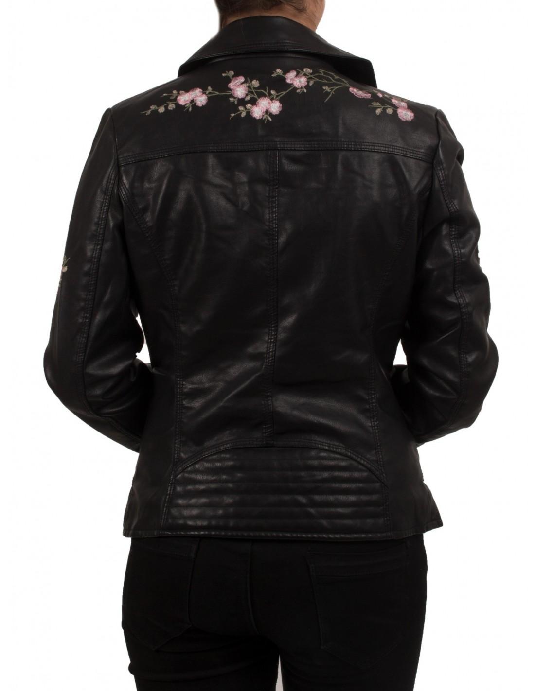 veste perfecto noir brod e fleurs rose pour femme en. Black Bedroom Furniture Sets. Home Design Ideas