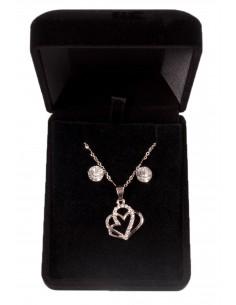 Parure de bijoux couleur Argent avec Pendentif 2 Coeurs