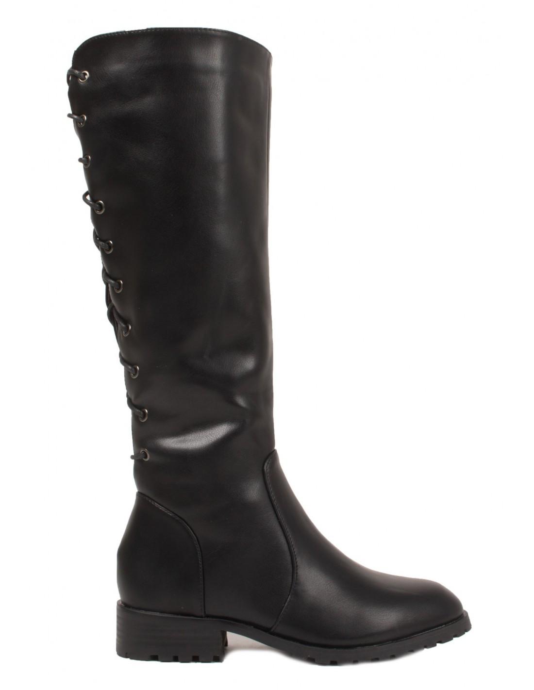 carré en talon noir lacets avec bas à femme Bottes et simili f6gYb7y