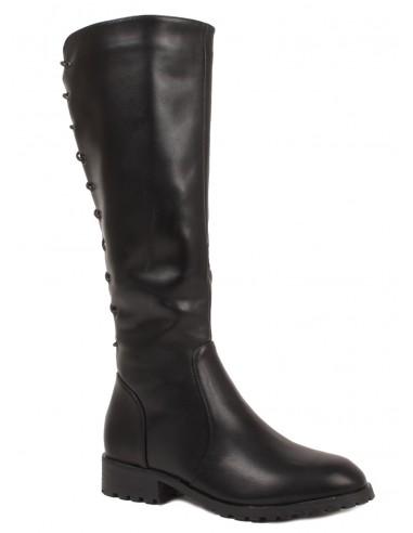 Bottes à lacets noir femme avec talon bas et carré en simili cuir