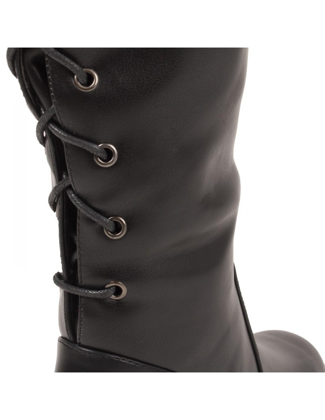 af0d707e3ba3e Bottes à lacets noir femme avec talon bas et carré en simili cuir