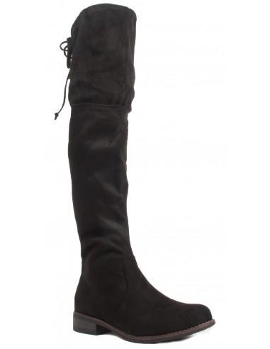 Bottes Cuissardes noir en suédine pour femme avec talon bas & lacet