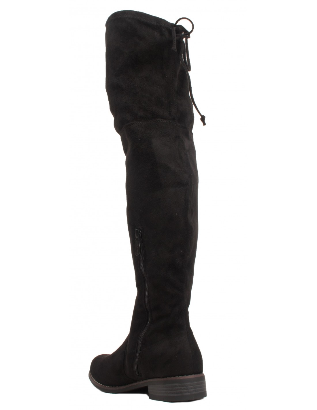 be9beac6a5c03 ... Bottes Cuissardes noir en suédine pour femme avec talon bas   lacet ...