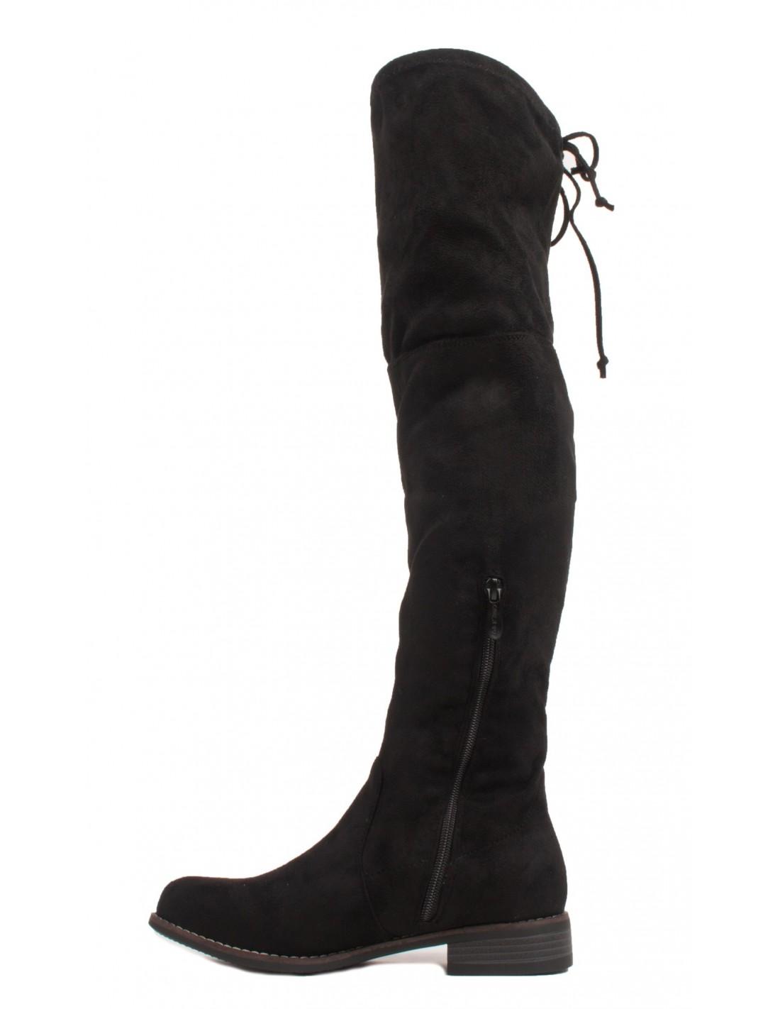 bottes cuissarde en daim noir femme