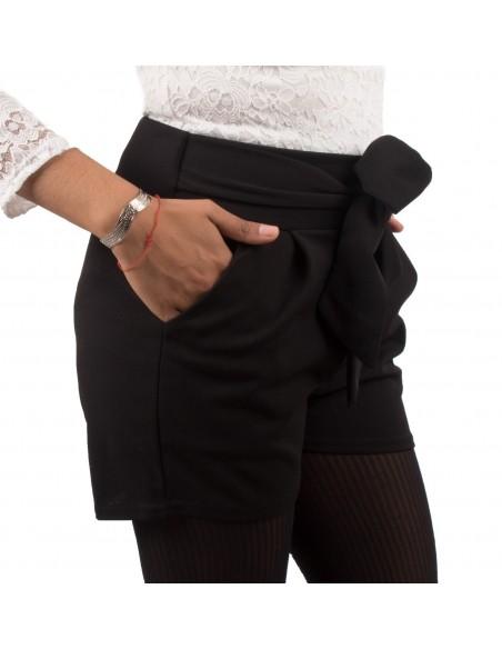 Short femme habillé avec ceinture noeud