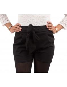 Short noir femme à noeud taille haute style habillé avec ceinture noeud & taille élastique