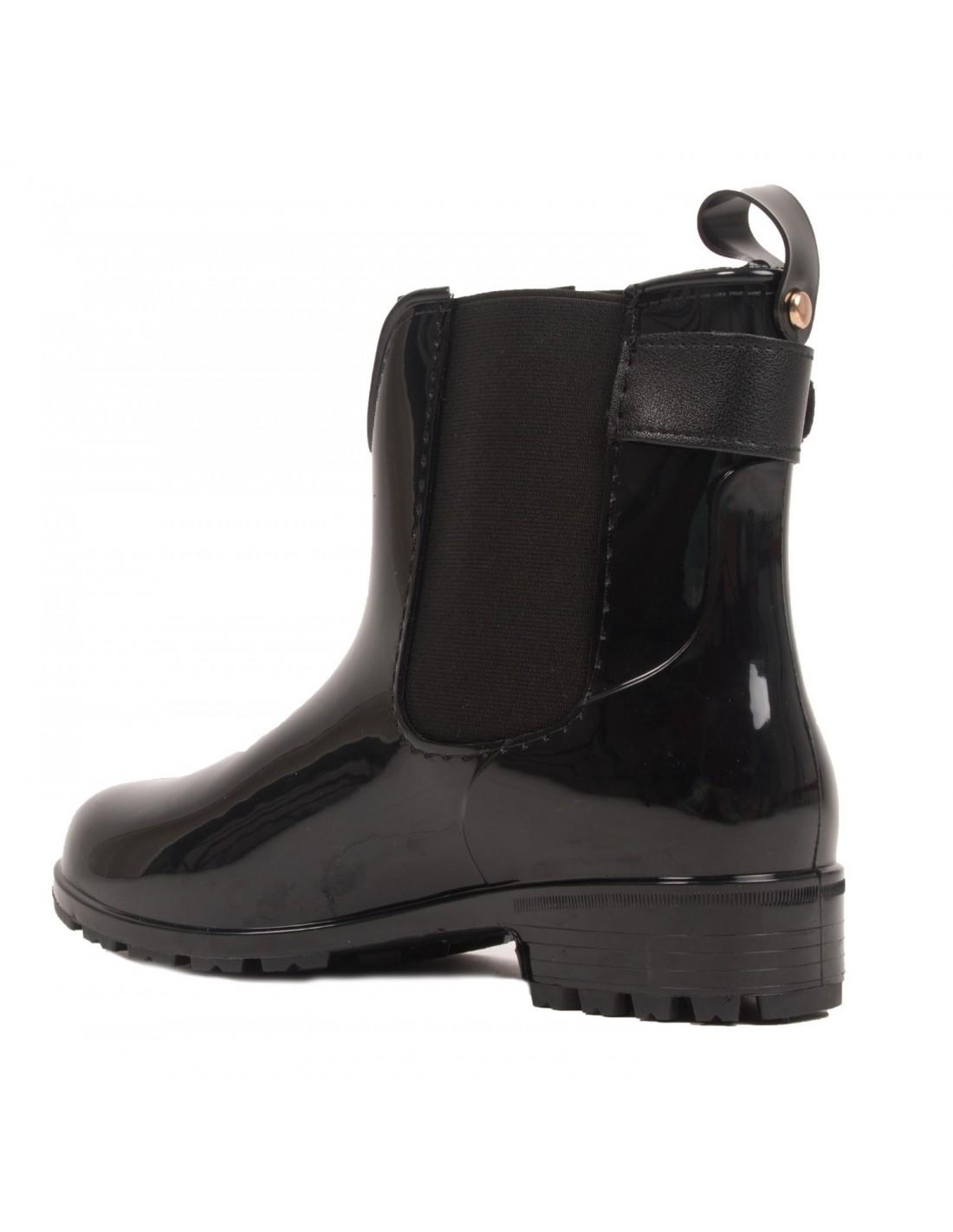 bottines caoutchouc noir pour femme type bottes de pluie. Black Bedroom Furniture Sets. Home Design Ideas