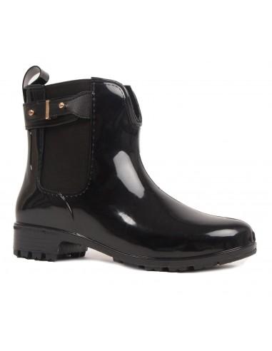 Bottines caoutchouc noir pour femme type bottes de pluie