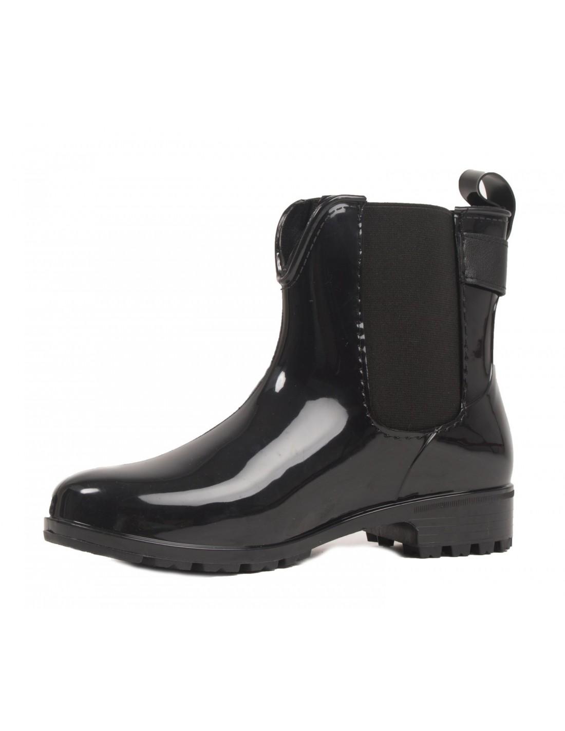 bottines caoutchouc noir pour femme type bottes de pluie rainboots. Black Bedroom Furniture Sets. Home Design Ideas
