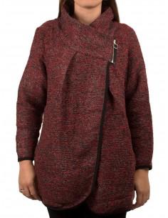 Veste drapée femme Grande Taille effet tweed col zippé
