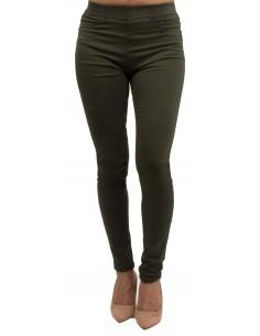 Jegging femme kaki taille haute coupe jean slim stretch