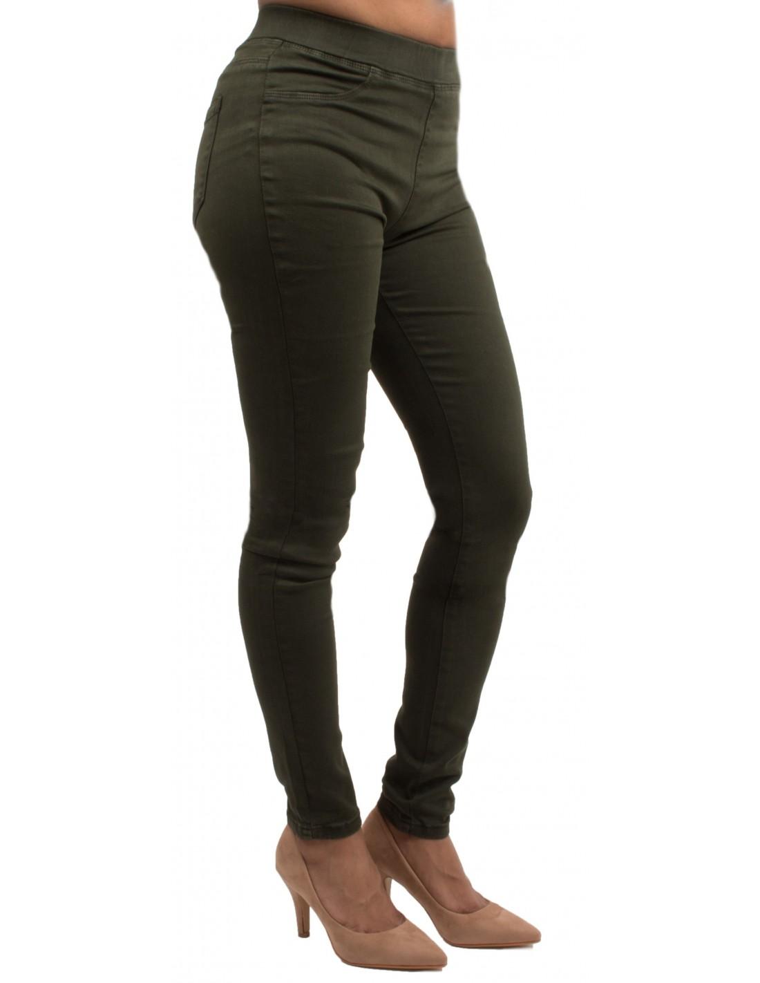 jegging femme kaki taille haute coupe jean slim ultra stretch. Black Bedroom Furniture Sets. Home Design Ideas