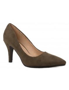 Escarpins kaki en suédine - Chaussure femme à talons aiguille à bout pointu
