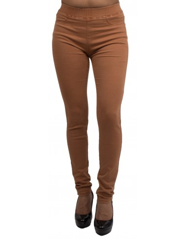 Jegging camel taille haute forme jean slim ultra stretch femme