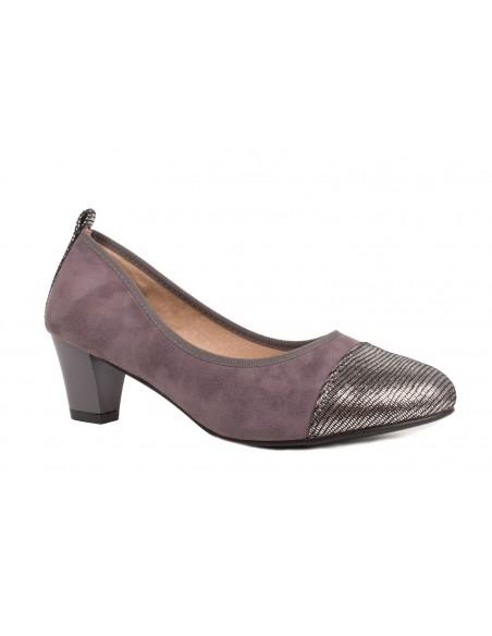 Escarpins Grandes pointures femme 41,42,43,44 en simili daim gris & petit talon 6cm avec semelle intérieure cuir