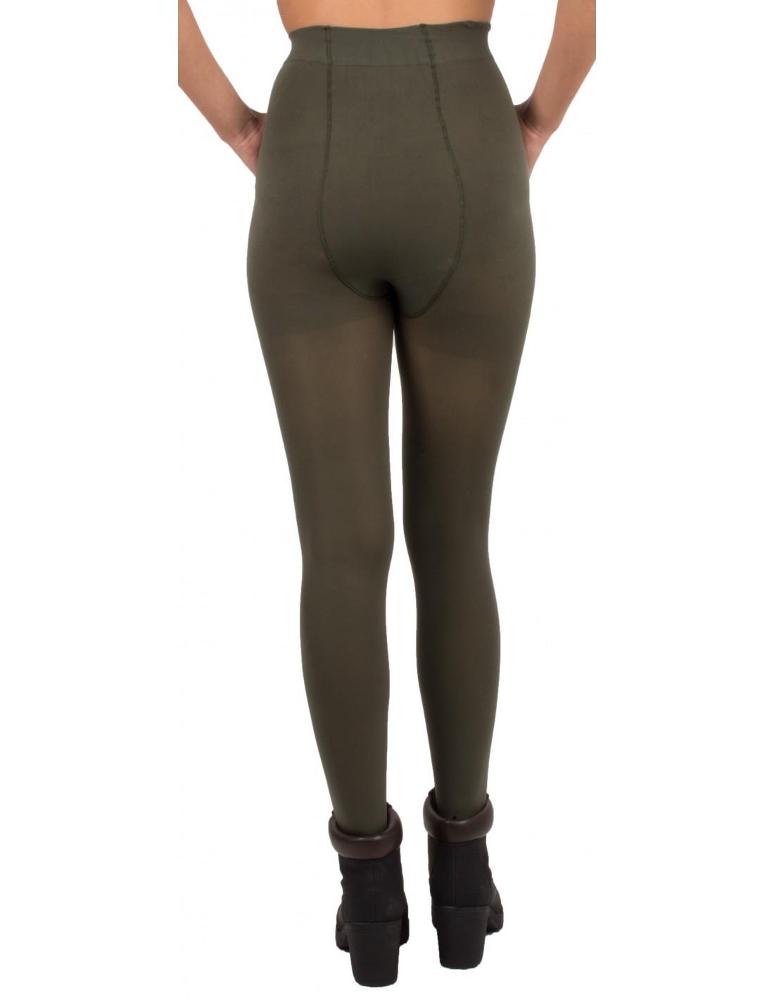 01852657632 Collant Opaque kaki femme 80 Deniers confortable avec culotte sans ...