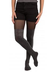 Collant femme noir et demi jambe pailletée argenté 20-80 DEN & gousset coton