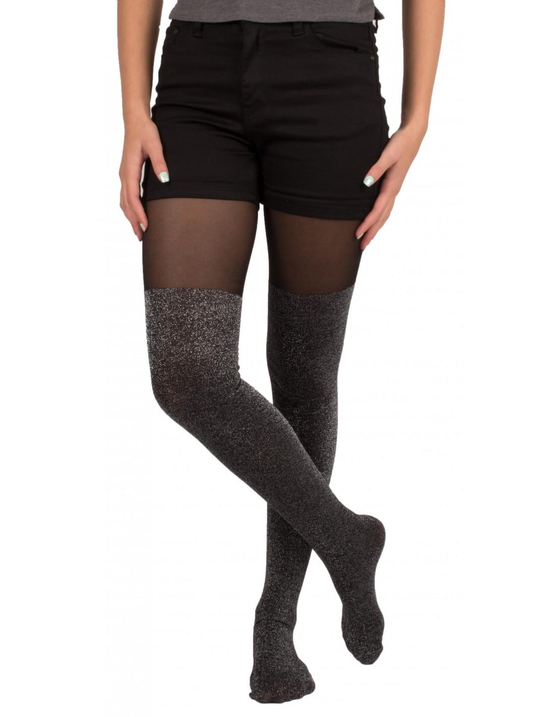 Collant femme noir et demi jambe pailletée. d4790568719